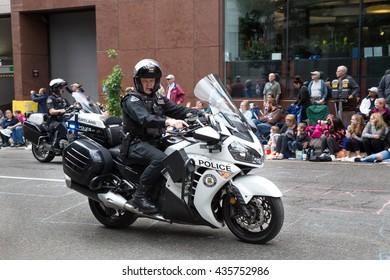 PORTLAND, OREGON - JUNE 11, 2016 Grand Floral Parade. Portland police members