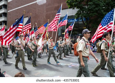 PORTLAND, OREGON - JUNE 11, 2016 Grand Floral Parade. Boy Scouts marching in the parade