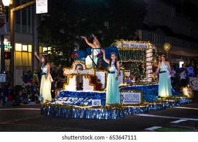 PORTLAND, OREGON - JUNE 3rd, 2017. Annual Starlight parade in downtown. Rose Festival opening. Astoria Regata illuminated platform