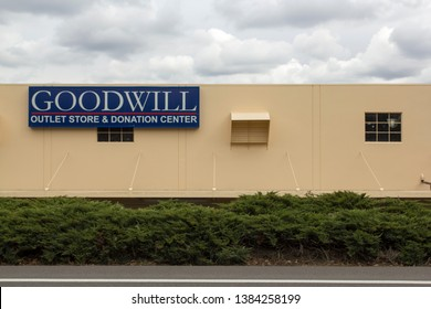 Portland, Oregon - Mar 21, 2019: The GOODWILL sign at a Goodwill outlet store & donation center. Goodwill is an American nonprofit 501 organization.