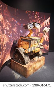 "Portland, Oregon - Mar 3, 2019: Wall-E, the robot character from a 2008 American computer-animated science fiction film on display at the ""Science Behind Pixar"" exhibit in OMSI."