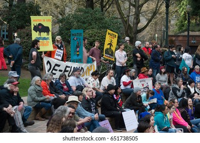 PORTLAND, OREGON MARCH 10 2017, Protesters of the Dakota Access Pipeline (DAPL) in the downtown Terry Shrunk Plaza park.
