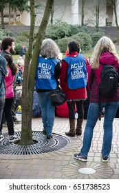 PORTLAND, OREGON MARCH 10 2017, ACLU (American Civil Liberty Union) of Oregon legal observers at a Dakota Access Pipeline (DAPL) protest in the downtown Terry Shrunk Plaza park.