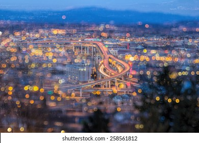 Portland Oregon Marquam Freeway Light Trails with Blurred Out of Focus Bokeh City Lights during Evening Blue Hour
