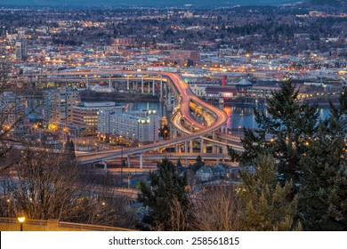 Portland Oregon Marquam Freeway Light Trails with Eastside City Lights during Evening Blue Hour