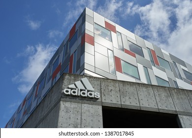 Portland, Oregon - May 2, 2019: The Adidas logo at Adidas America Inc., Adidas North American Headquarters.