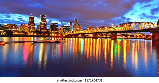 Portland, Oregon - May 21, 2013 : Portland downtown cityscape and reflection view during blue hour