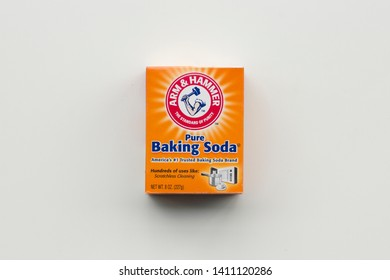 Portland, Oregon - May 8, 2019: ARM & HAMMER brand pure baking soda. Arm & Hammer is a brand of consumer products marketed by Church & Dwight, a major American manufacturer of household products.
