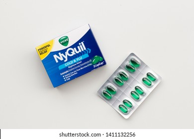 Portland, Oregon - May 8, 2019: Vicks NyQuil™ Cold & Flu Nighttime Relief LiquiCaps isolated on white. Vicks is an American brand of over-the-counter medications owned by the Procter & Gamble.