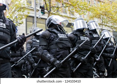 PORTLAND, OREGON - NOV 17: Police in Riot Gear Holding the Line in Downtown Portland, Oregon during a Occupy Portland protest on the first anniversary of Occupy Wall Street November 17, 2011