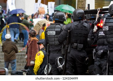 PORTLAND, OREGON - NOV 17: Police in Riot Gear on Vehicle in Downtown Portland, Oregon during a Occupy Portland protest on the first anniversary of Occupy Wall Street November 17, 2011