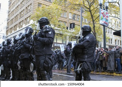 PORTLAND, OREGON - NOV 17: Police Sheriff in Riot Gear Frontline in Downtown Portland, Oregon during a Occupy Portland protest on the first anniversary of Occupy Wall Street November 17, 2011