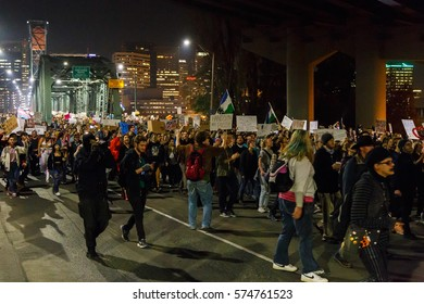 Portland, Oregon - November 10th, 2016: Protesters in Portland march and demonstrate against President Elect Donald Trump.  This becomes a full scale riot as the night develops.