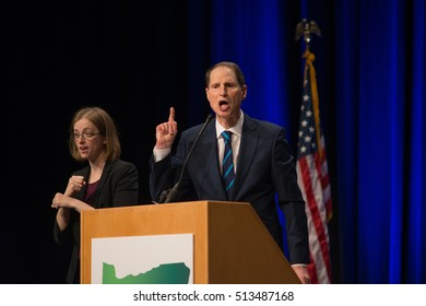 PORTLAND, OREGON NOVEMBER 8 2016, At the Election Night Party for the Democratic Party of Oregon, Senator Ron Wyden passionately speaks after winning a reelection campaign.