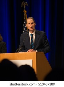 PORTLAND, OREGON NOVEMBER 8 2016, At the Election Night Party for the Democratic Party of Oregon, Ron Wyden, Democratic Senator for Oregon gives his acceptance speech after winning reelection.