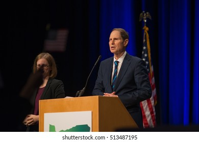 PORTLAND, OREGON NOVEMBER 8 2016, At the Election Night Party for the Democratic Party of Oregon, Ron Wyden, Democratic Senator for Oregon giving his acceptance speech after winning reelection.
