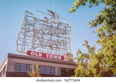 """PORTLAND, OREGON - OCT 1, 2015:  Originally installed in 1940, the sign was changed to """"Portland Oregon"""" in 2010 and is among the most recognizable landmarks in Portland and all of Oregon."""