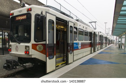 PORTLAND, OREGON - OCTOBER 10: A light rail commuter train at the airport station on October 10, 2012. Trains run every 15 minutes or better for most of the day.
