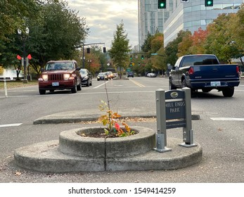 Portland, Oregon: October 13, 2019:  Mill Ends Park, the world's smallest park.  Mill Ends Park was dedicated in 1971.