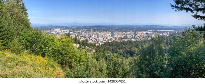 Portland, Oregon. Panoramic city view from the top of a hill.