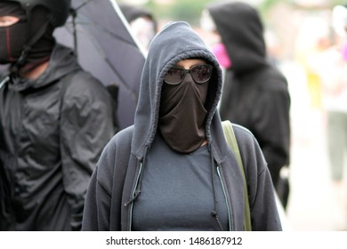 Portland, Oregon. Saturday, August 17, 2019. Antifa supporters at a rally to protest the Proud Boys and Patriot Prayer rally.