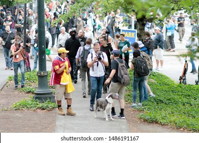 Portland, Oregon. Saturday, August 17, 2019. Protesters rally against Proud Boys and Patriot Prayer members.