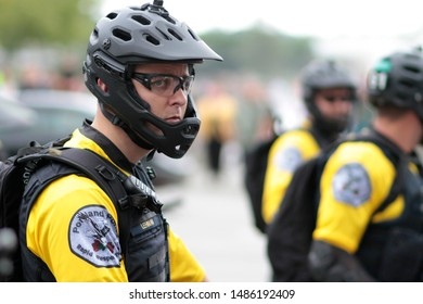 Portland, Oregon. Saturday, August 17, 2019. Bicycle police block parts of Naito Parkway to prevent antifa from clashing with Proud Boys and Patriot Prayer.