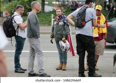 Portland, Oregon. Saturday, August 17, 2019. Proud Boys and Patriot Prayer members hold a rally in downtown.