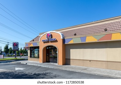 Portland, Oregon - Sep 3, 2018 : Exterior of Taco Bell fast-food restaurant with sign and logo.