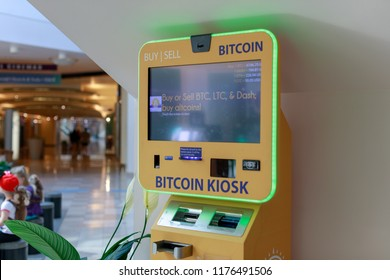 Portland, Oregon - Sep 8, 2018 : Bitcoin ATM in pioneer place, Shopping mall in Portland
