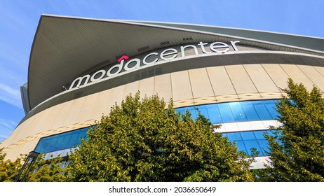PORTLAND, OREGON - SEPTEMBER 1, 2021:  Moda Center, multi-purpose sports arena in Portland, Oregon and home of the Portland Trail Blazers