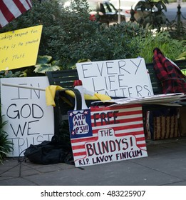 PORTLAND, OREGON SEPTEMBER 13 2016, Signs from Protesters in support of the defendants in the trial of the armed occupation of the Malheur National Wildlife Refuge.