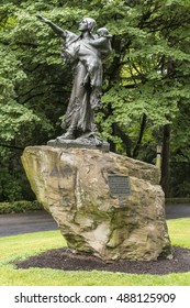 Portland, Oregon - September 18, 2016 - Monument and statue in Washington Park,  honoring Sacajawea who guided the Lewis and Clark Expedition  in exploring the territories of the Louisiana Purchase.
