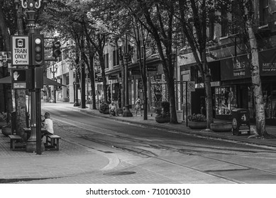 Portland Oregon- September 3, 2017: The streets of downtown Portland are quiet as forest fires burn nearby in the Columbia Gorge during Labor Day weekend
