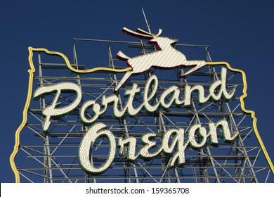 Portland Oregon Sign on a bright blue sky day