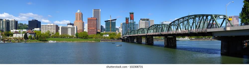 Portland Oregon skyline and bridge panorama.