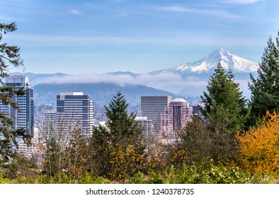 Portland Oregon skyline fog and Mt. Hood.