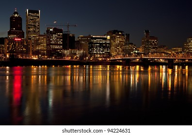 Portland Oregon skyline at night.