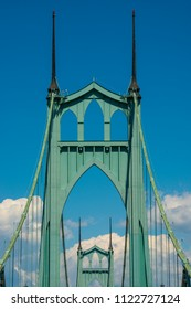 Portland Oregon St. Johns Historic Art Deco Green Bridge over the Williamette River