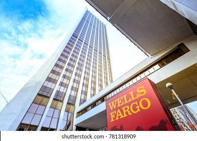 Portland, Oregon, United States - Dec 19, 2017: Building of Wells Fargo Center in downtown Portland