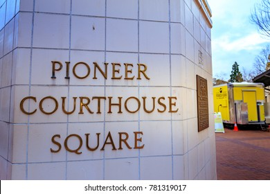 Portland, Oregon, United States - Dec 19, 2017: Sign of Pioneer Courthouse Square at winter season