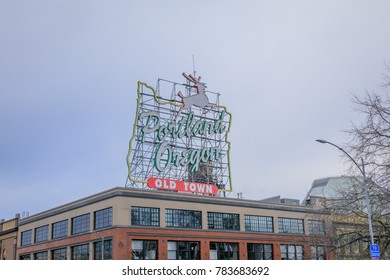 Portland, Oregon, United States - Dec 26, 2017 : View of the iconic White Stag, a landmark neon sign Portland, Oregon.