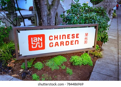 Portland, Oregon, United States - Dec 19, 2017 : The logo of Lan Su Chinese Garden (Portland Classical Chinese Garden, Garden of Awakening Orchids) in the Old Town Chinatown in Portland