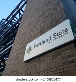 Portland, Oregon, United States, July, 27, 2019. Mid day shot of Portland State University sign on engineering building.