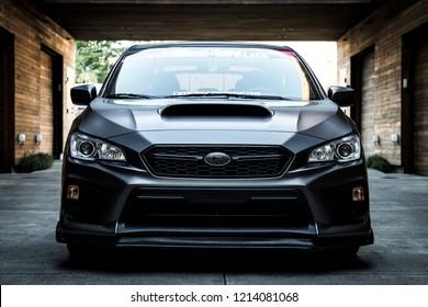 Portland, Oregon / United States - October 11th, 2018: 2018 Subaru WRX detailed front shot.