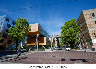 Portland, Oregon, USA - April 20, 2018 : Campus view of Portland State University during spring season