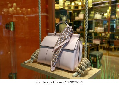 Portland, Oregon, USA - April 27, 2018 : Tory Burch bag on display at Pioneer Place, shopping mall, in downtown Portland