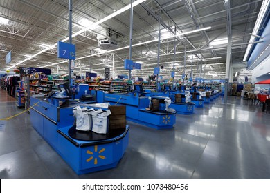 Portland, Oregon, USA - April 9, 2018 : Walmart store interior. is an American multinational corporation that runs large discount stores and is the world's largest public corporation.
