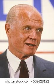 PORTLAND, OREGON, USA - AUGUST 26, 1983: U.S. Senator John Glenn (D-Ohio) news conference during campaign for 1984 Democratic presidential nomination.