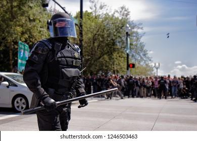 Portland, Oregon / USA - August 4th, 2018:  Police presence and riot control at a Patriot Prayer rally in Portland, Oregon.